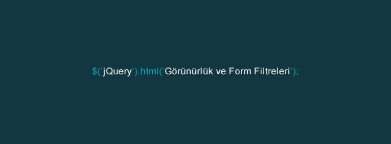 jQuery Görünürlük ve Form Filtreleri