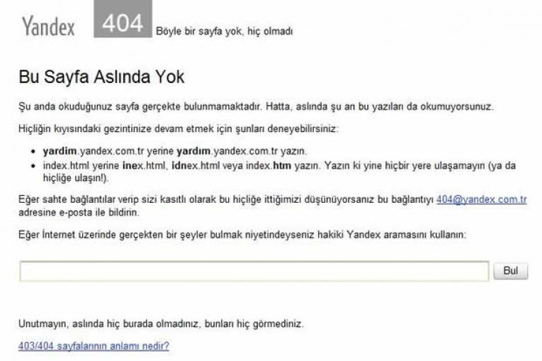 Yandex Hata Sayfaları Vol 2